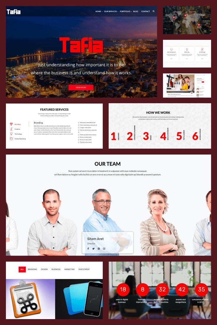Wordpress Theme Tafia. Collage.