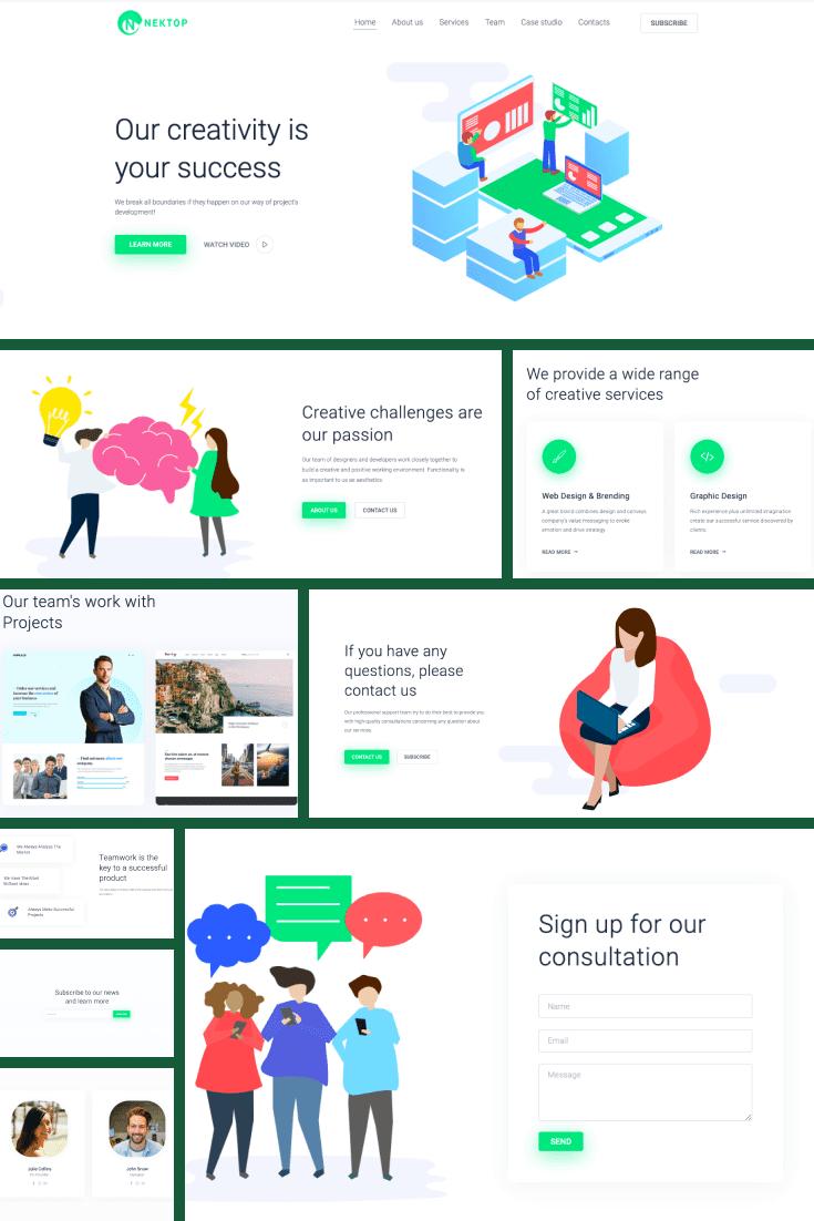 Wordpress Theme Nektop. Collage.