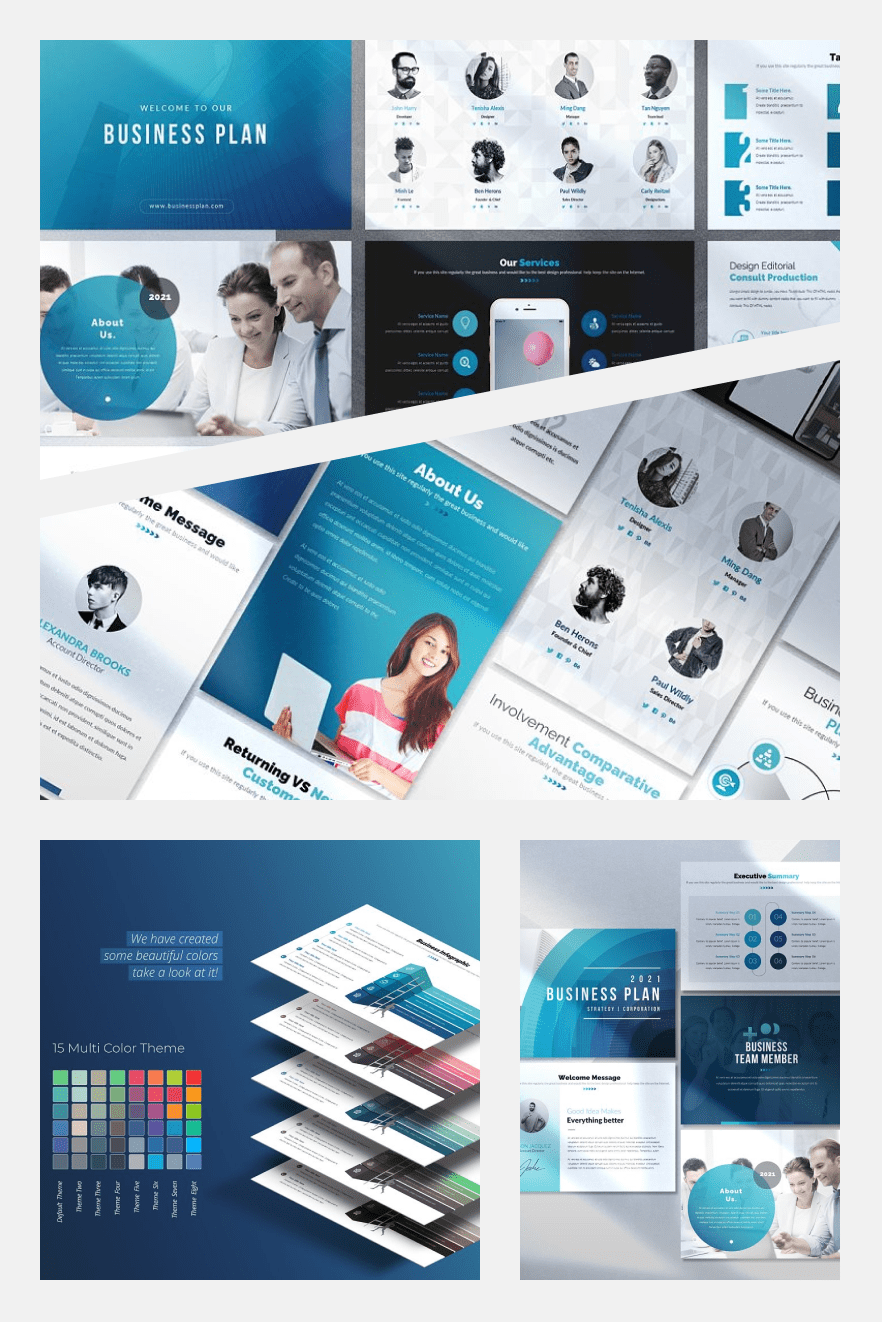 Business Infographic Presentation - PowerPoint Template. Collage Image.
