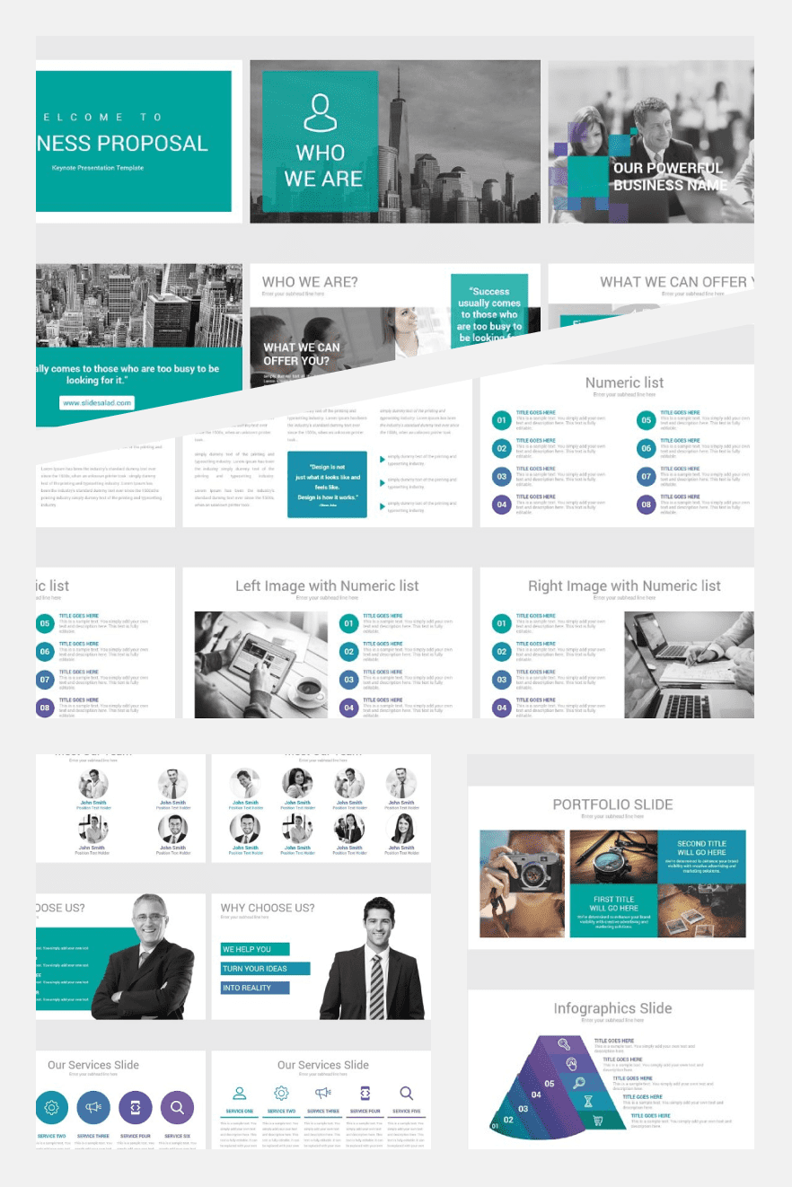Business Proposal Keynote Template. Collage Image.