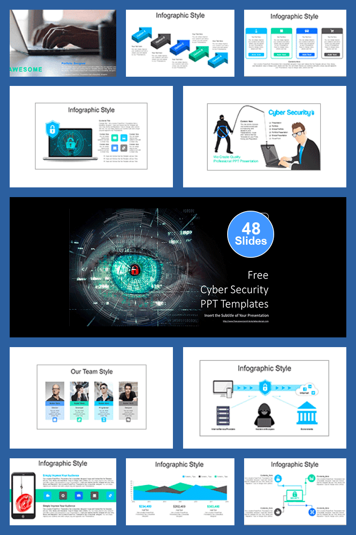 Cyber Security PowerPoint. Collage Image.