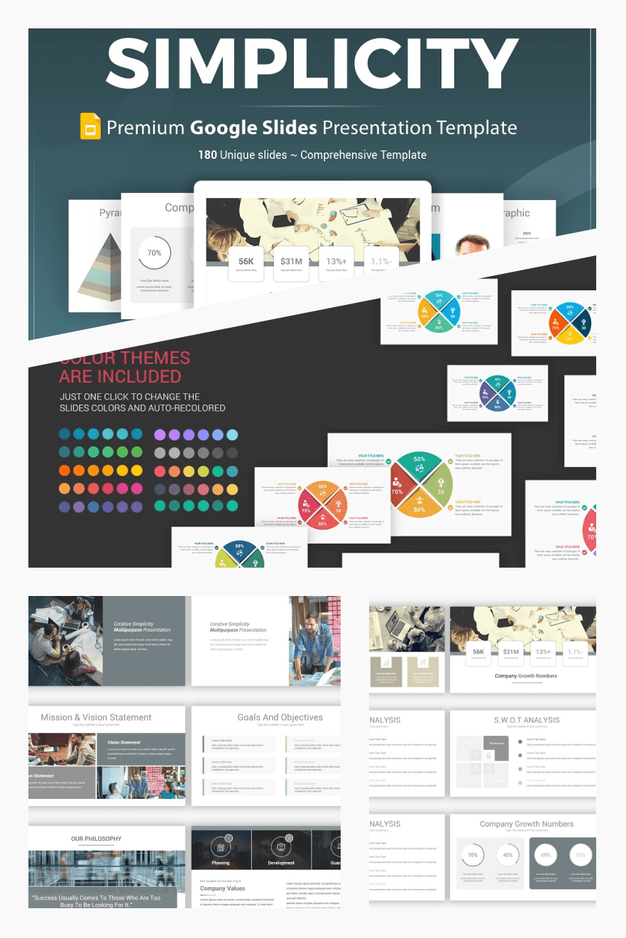 Simplicity Google Slides Template. Collage Image.