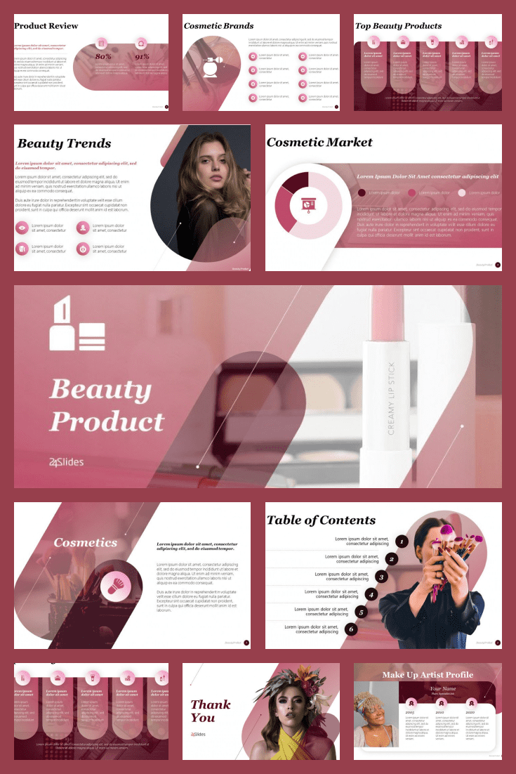 Beauty Products Template. Collage Image.