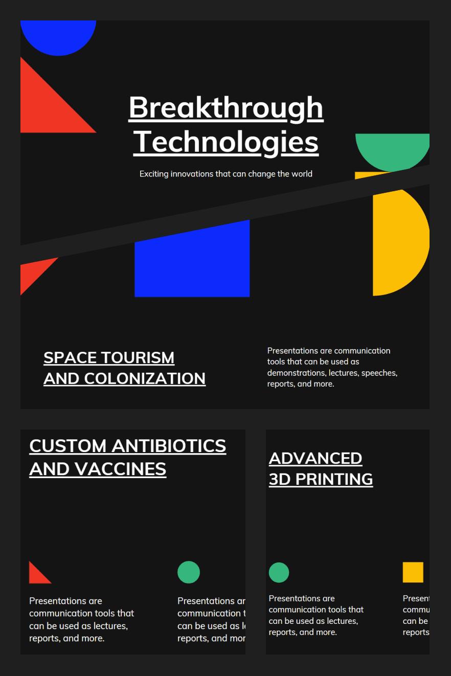 Black and White Geometric Technology Keynote Presentation. Collage Image.
