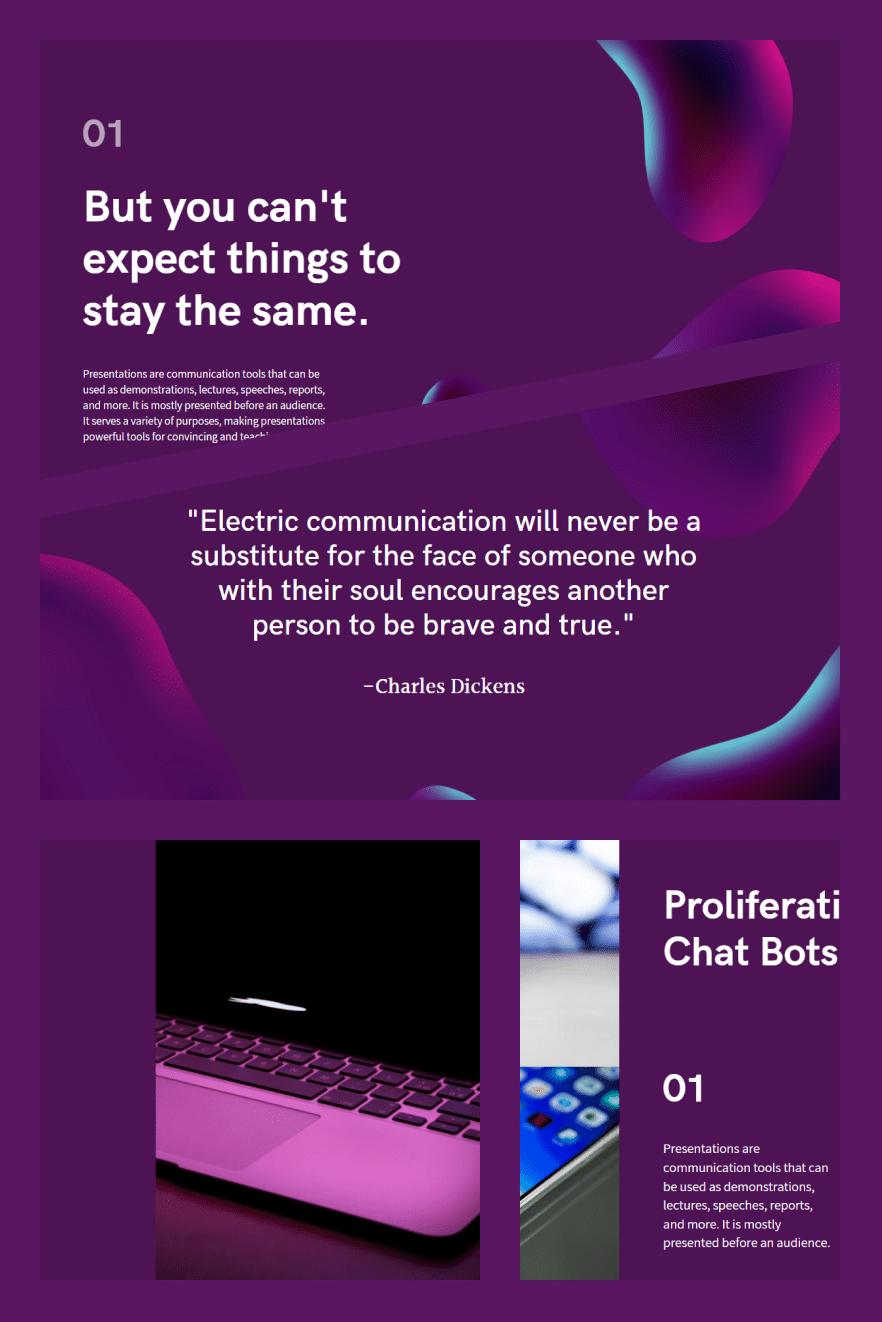 Purple and Black Simple Technology Keynote Presentation. Collage Image.