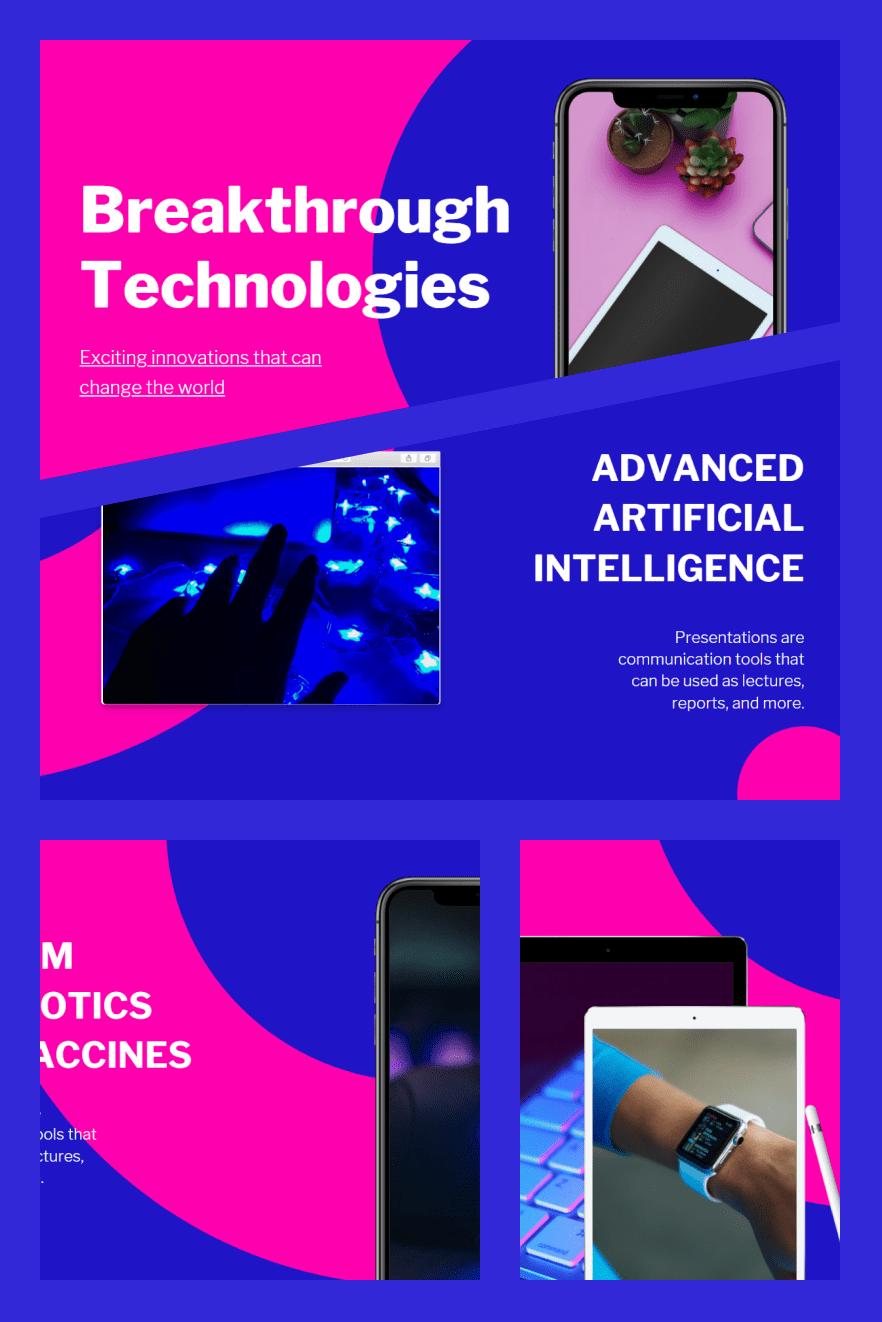 Blue and Pink Modern Technology Keynote Presentation. Collage Image.