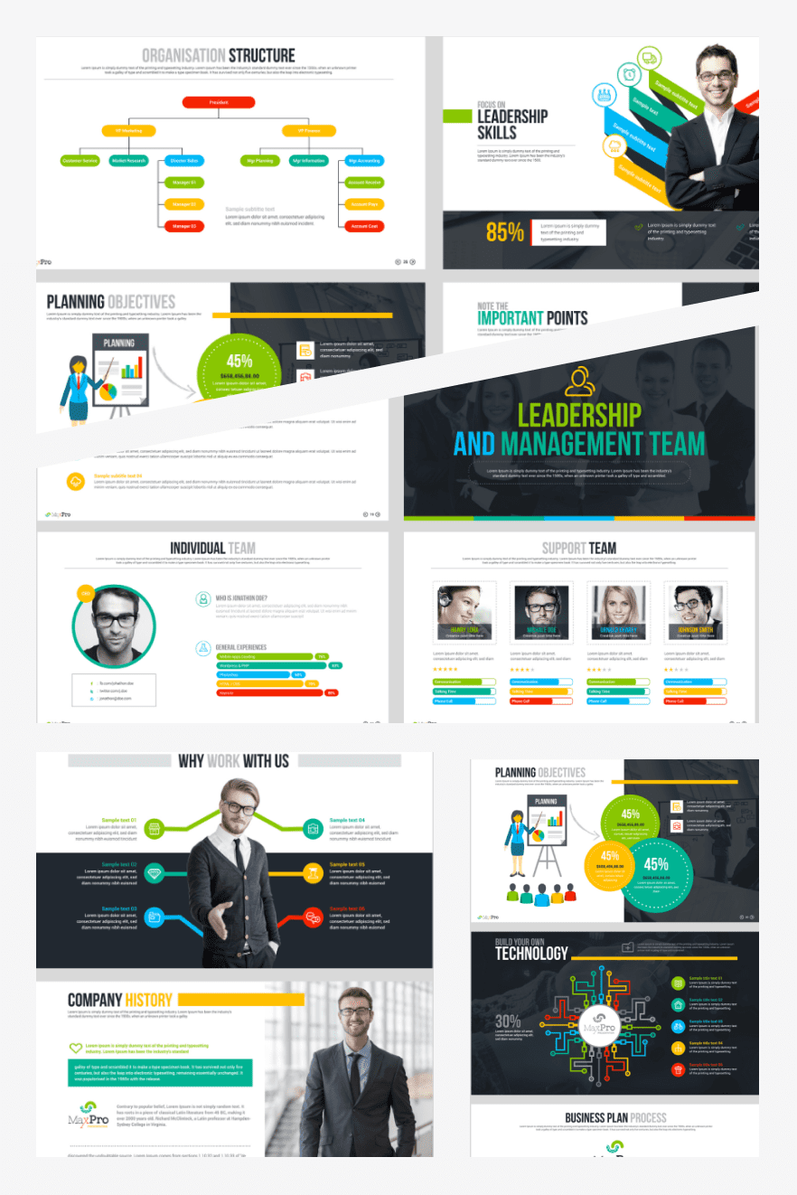 Business Plan PowerPoint Presentation Template. Collage Image.