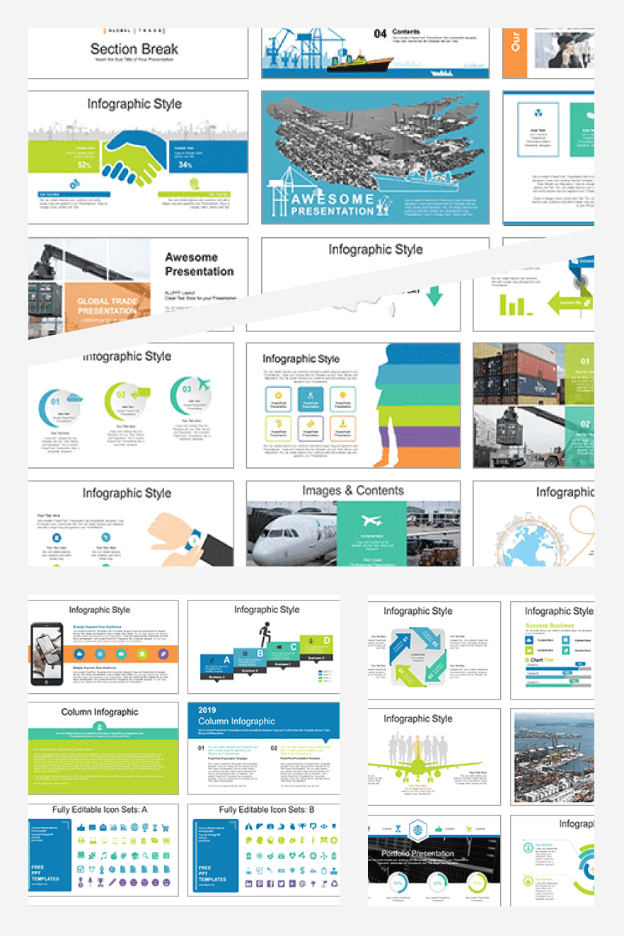 Global Logistics Network PowerPoint Templates. Collage Image.