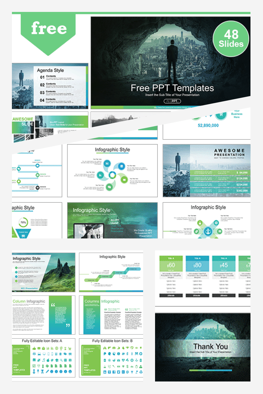 Leader for Success PowerPoint Templates. Collage Image.