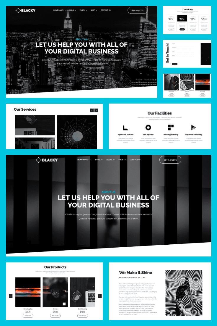 Wordpress theme Blacky. Collage.