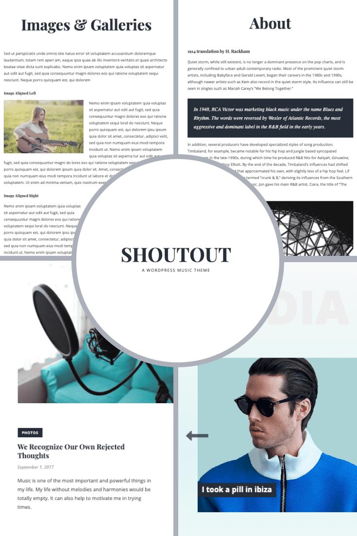 Shoutout - A WordPress Music Theme. Collage.
