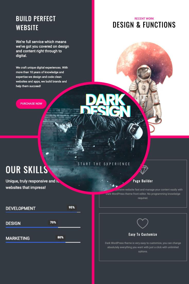 Dark WordPress Theme: Responsive Dark Website Builder. Collage.