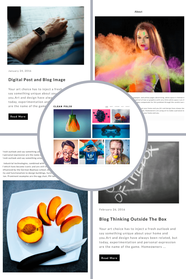 Clean Folio WordPress Theme. Collage.