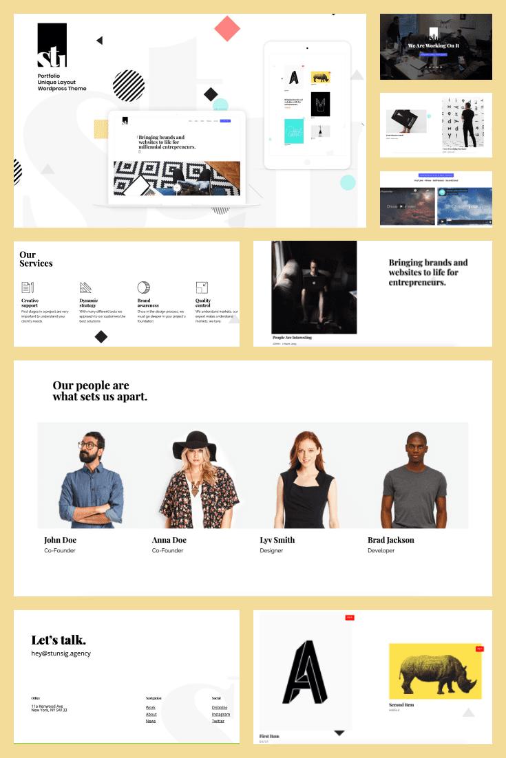 Wordpress theme Stunsig. Collage.
