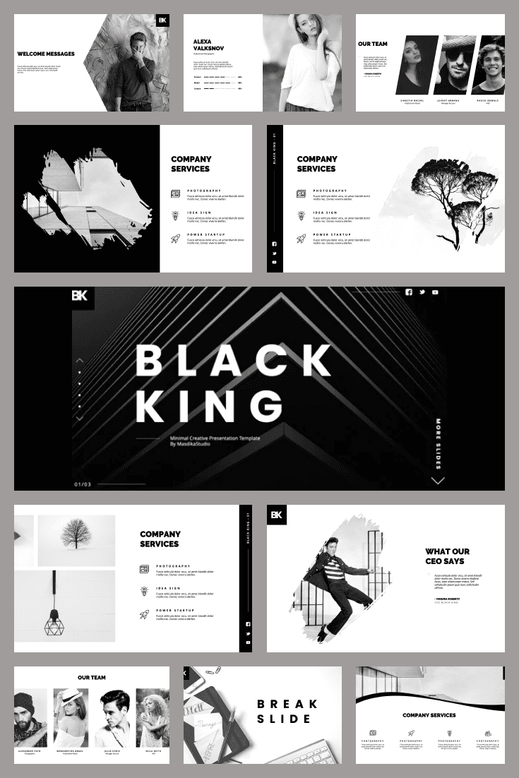 Black King - Minimal Creative PowerPoint Template. Collage Image.