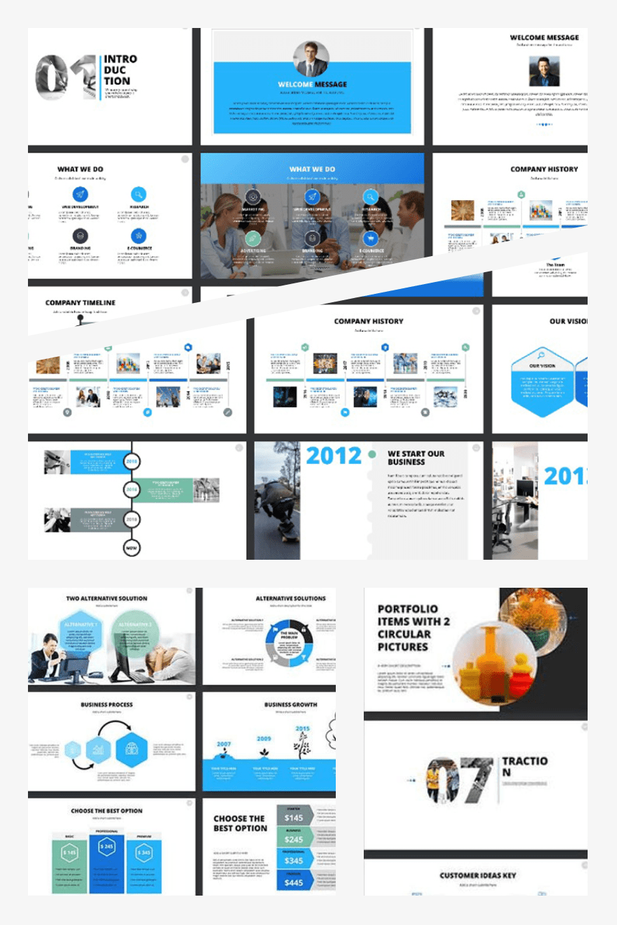 2020 Pitch Deck PowerPoint Template. Collage Image.