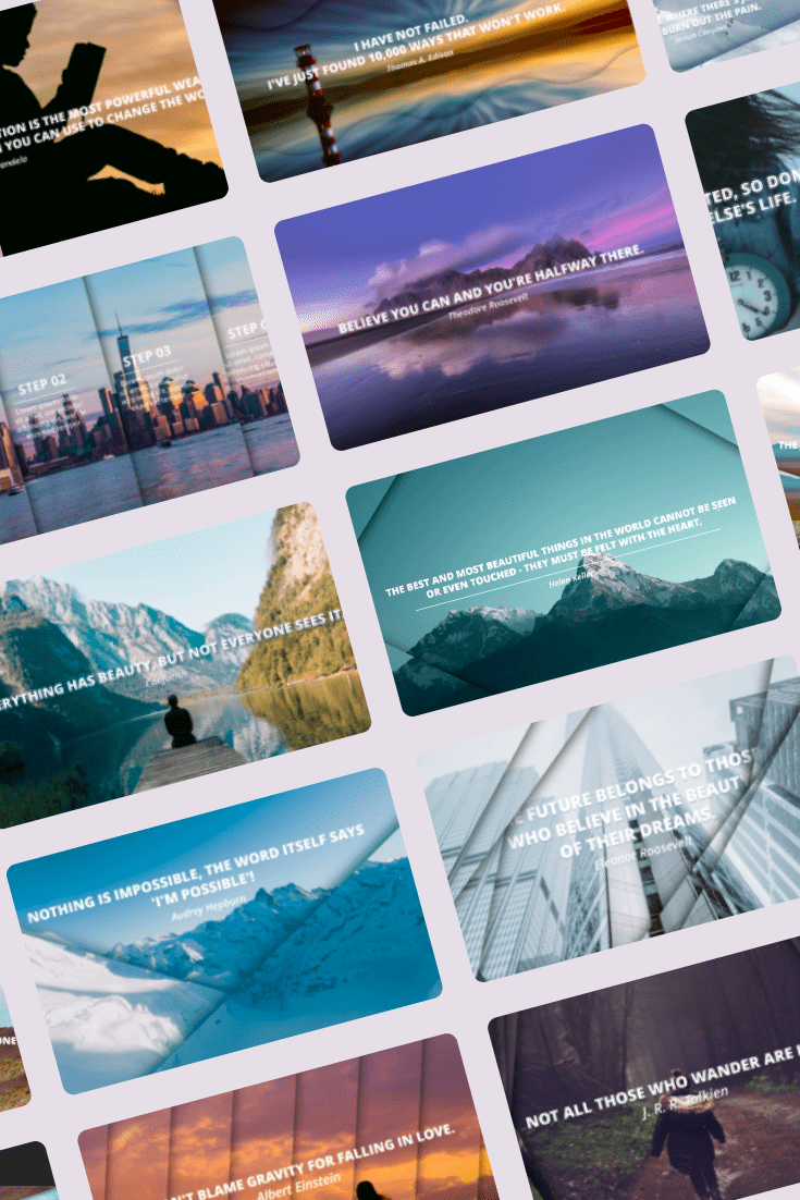 Parallax PowerPoint Theme: 25 Animated Slides. Collage Image.