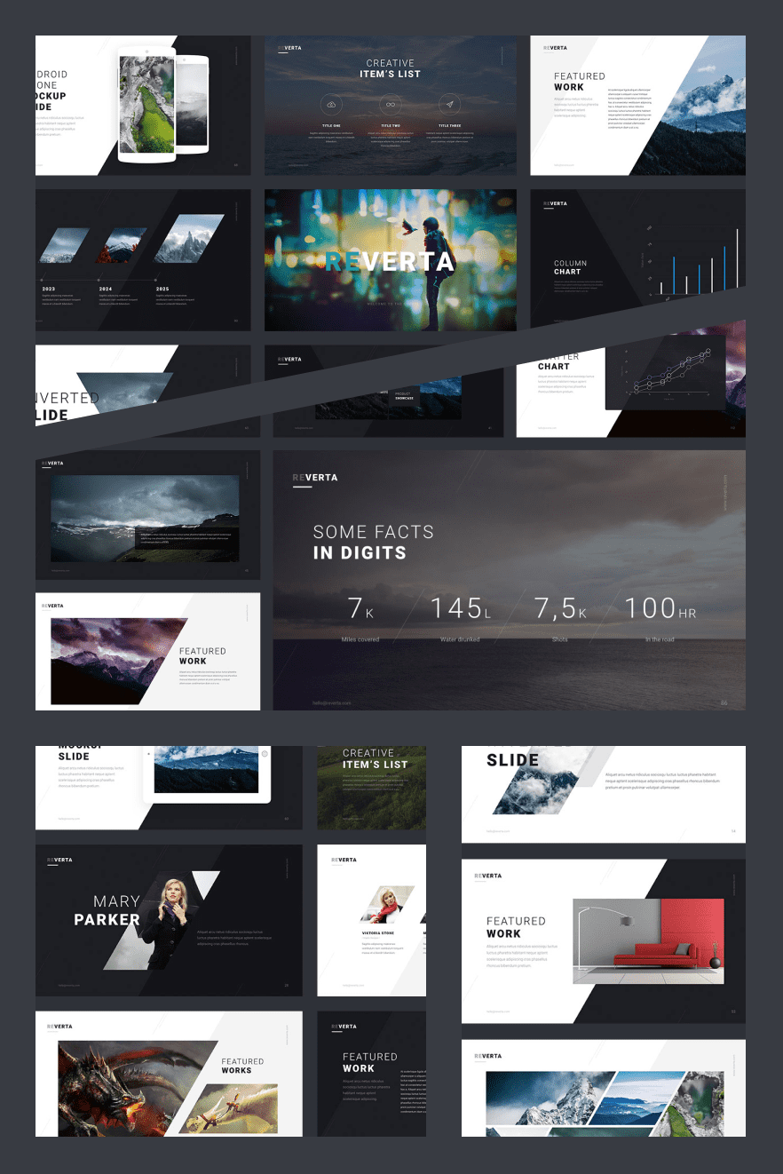 Reverta Keynote Template. Collage Image.