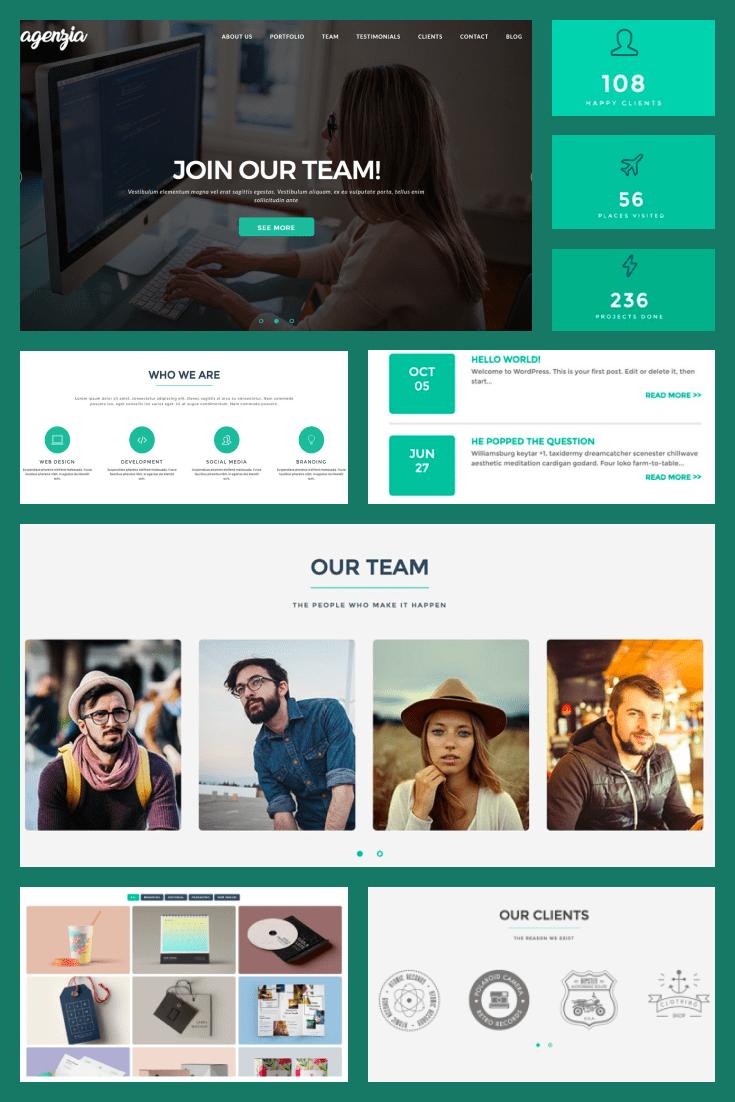 Wordpress Theme Agenzia. Collage.