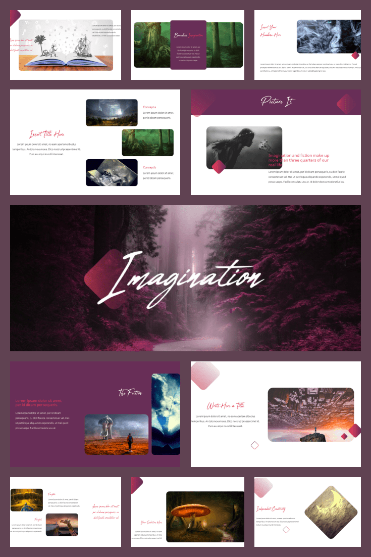 Imagination PowerPoint Theme. Collage Image.