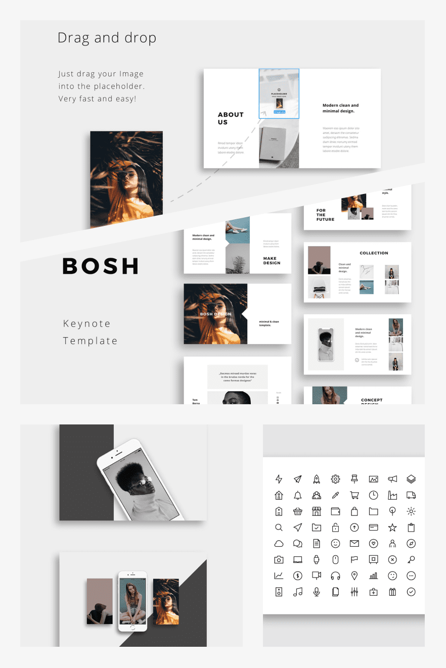 BOSH - Keynote Template. Collage Image.