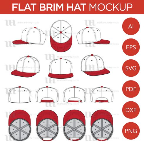 Author - MAM Flat Brim Baseball Cap Template Main 490x490