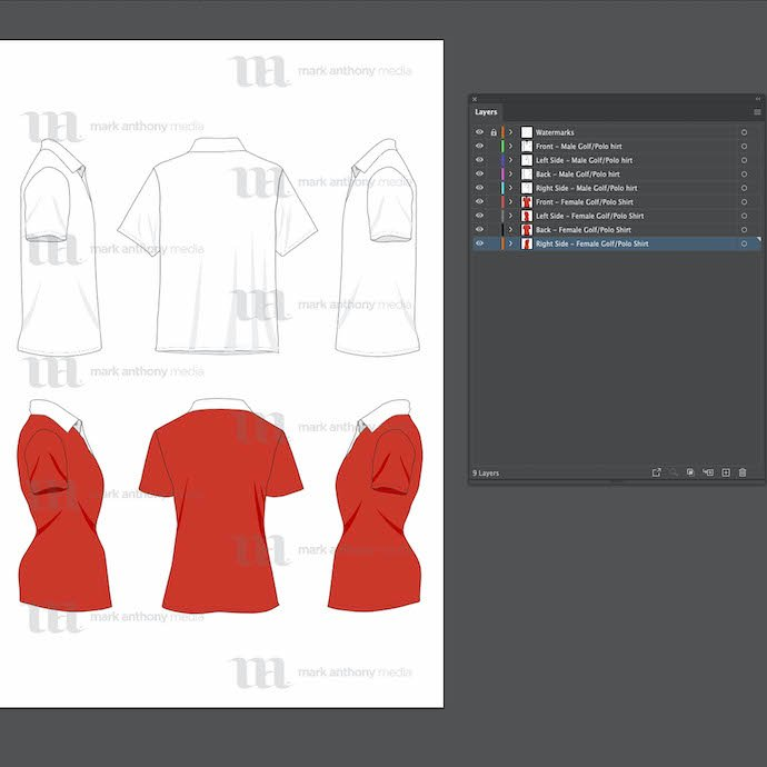 View of the template with general sketches for editing.