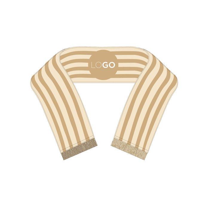 Striped scarf with logo.