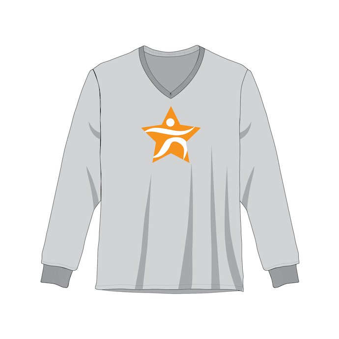 Gray sweatshirt with a V-neck and a bold logo in the middle.