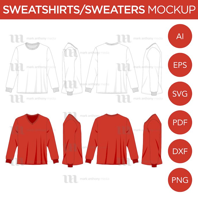 Sweaters Mockup Template Example.
