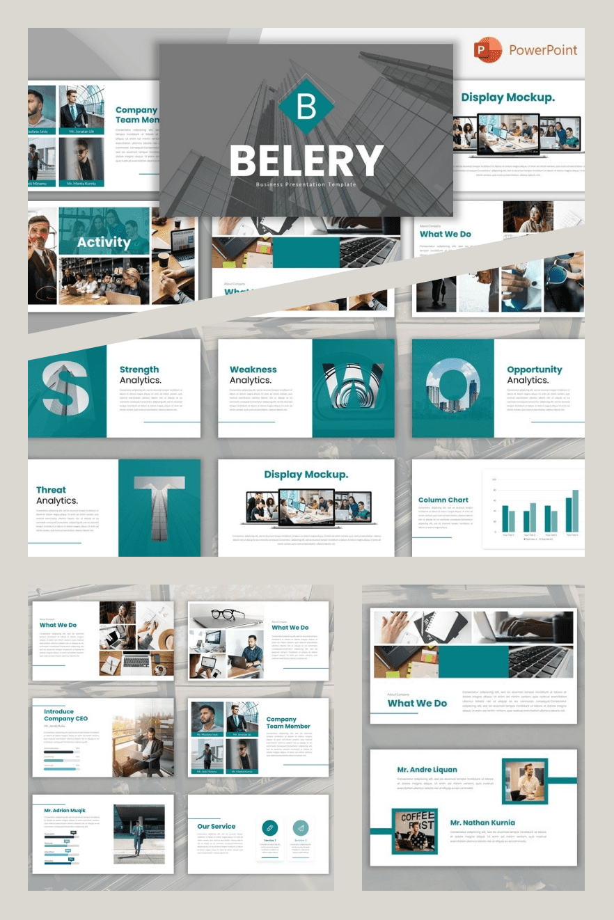 Belery-Pitch Deck PowerPoint Template. Collage Image.