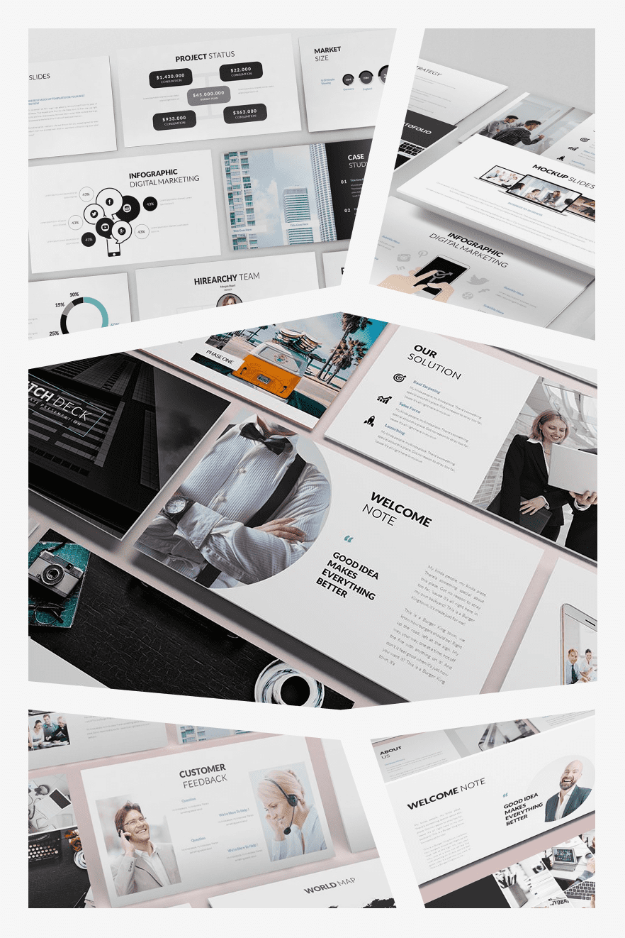 Awesome Pitch Deck PowerPoint Template. Collage Image.