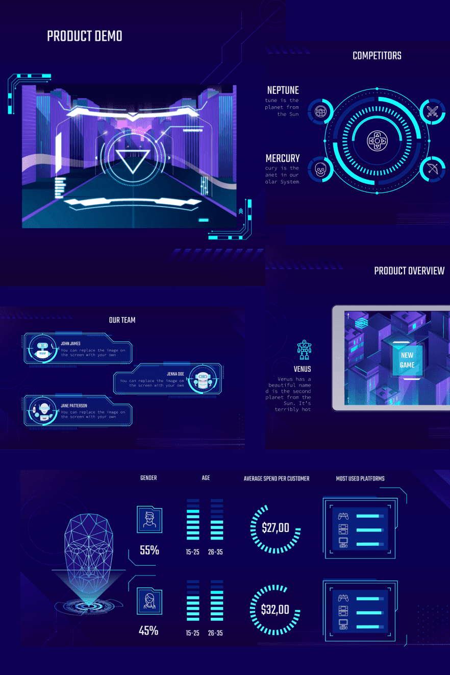Video Game Pitch Deck. Collage Image.