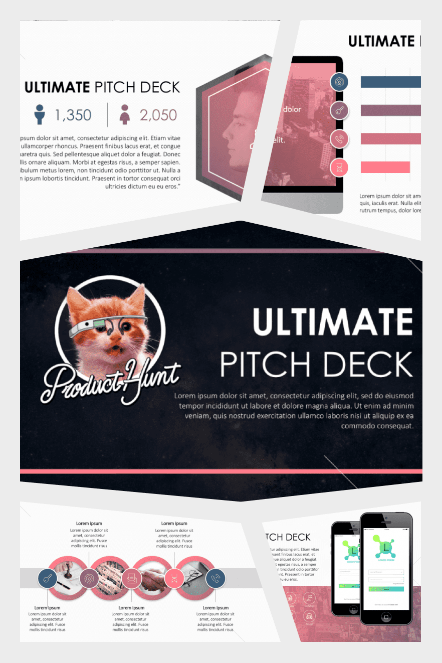 Product Hunt Pitch Deck Template. Collage Image.