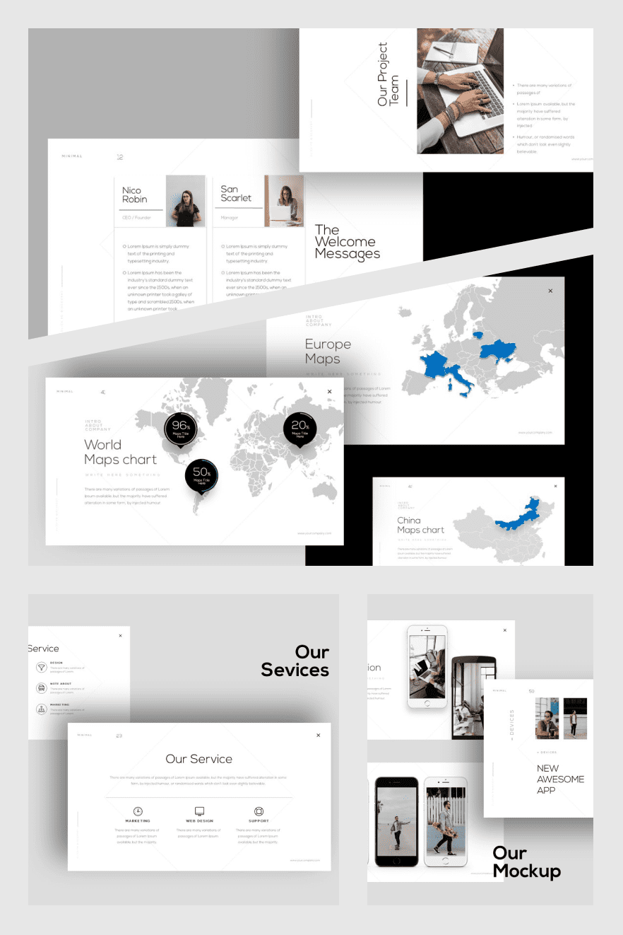 Minimal PowerPoint Template. Collage Image.