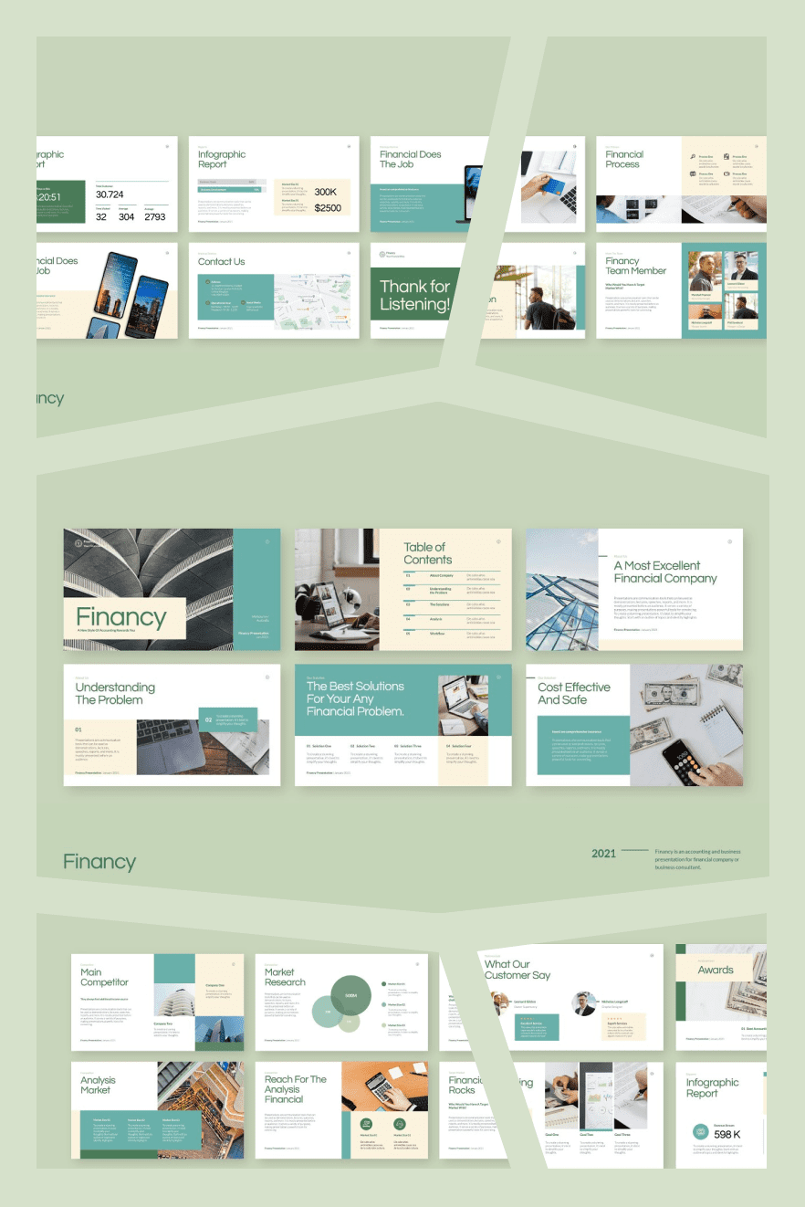 Accounting PowerPoint Template. Collage Image.