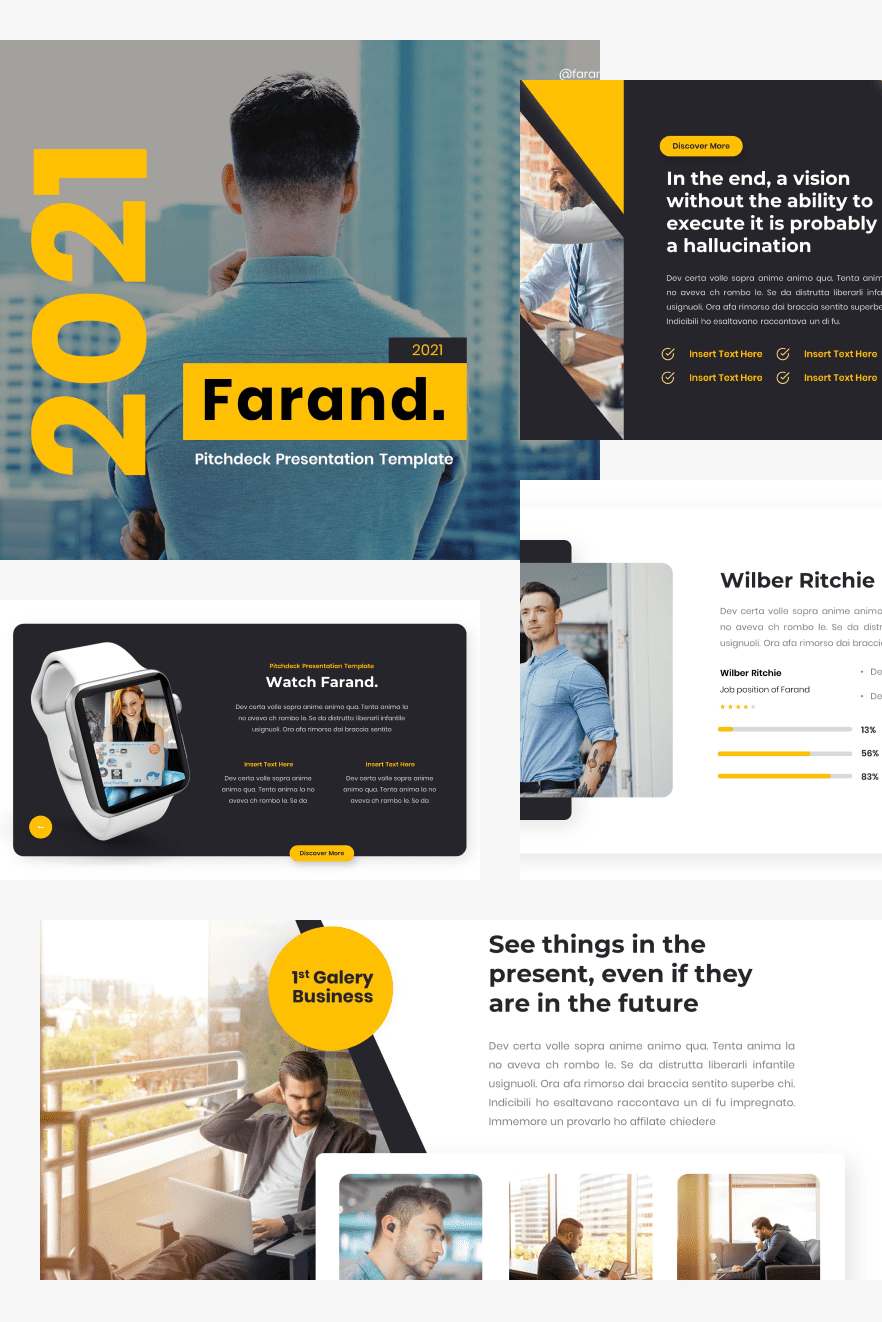 Farand - Pitch Deck PowerPoint Template. Collage Image.