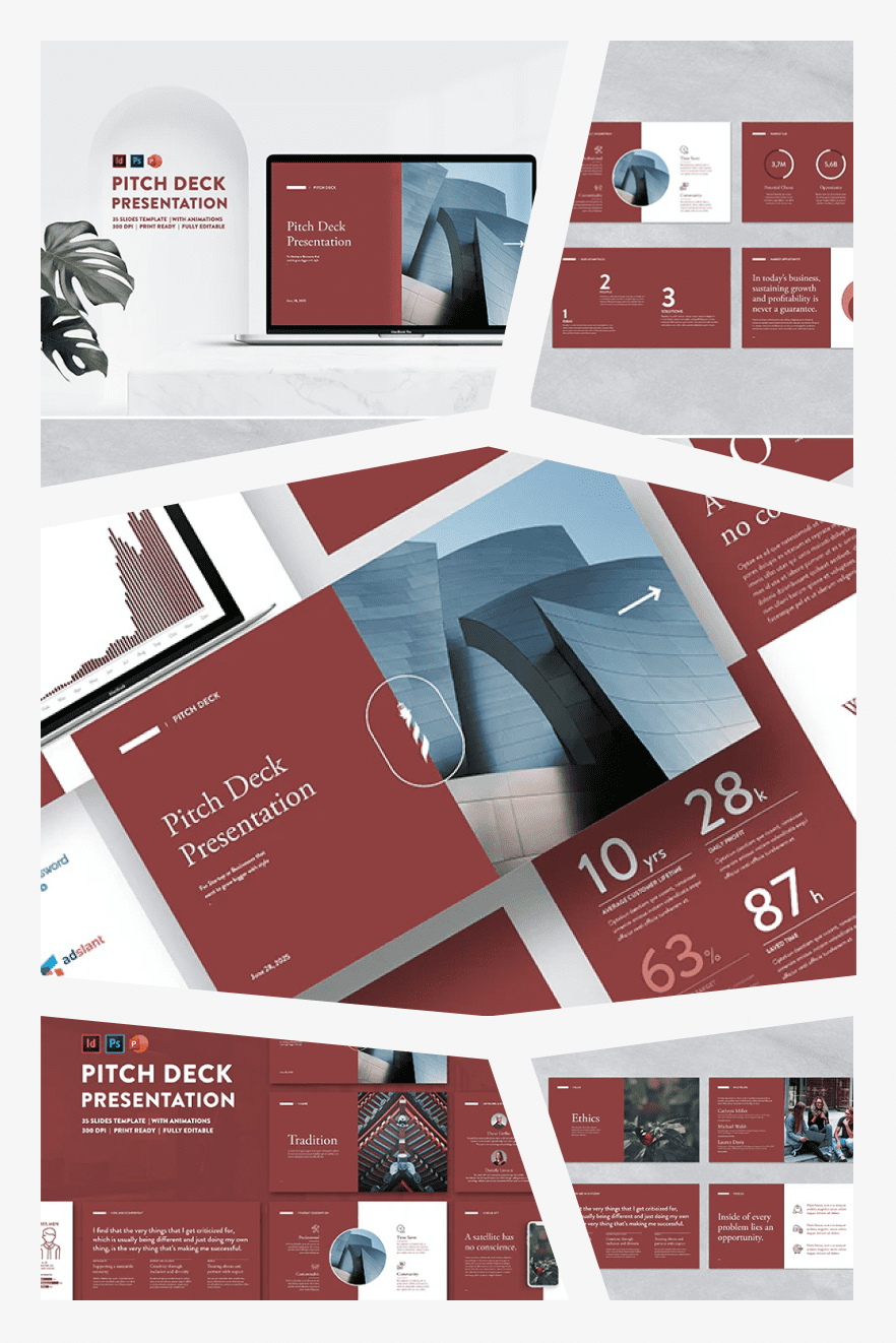 Pitch Deck Powerpoint Presentation. Collage Image.