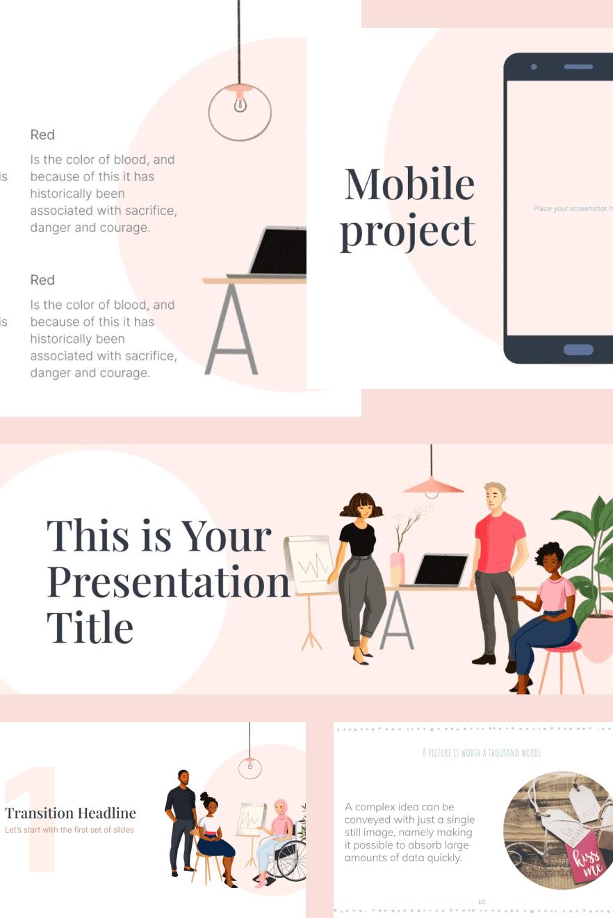 Clean Teamwork Slides. Collage Image.