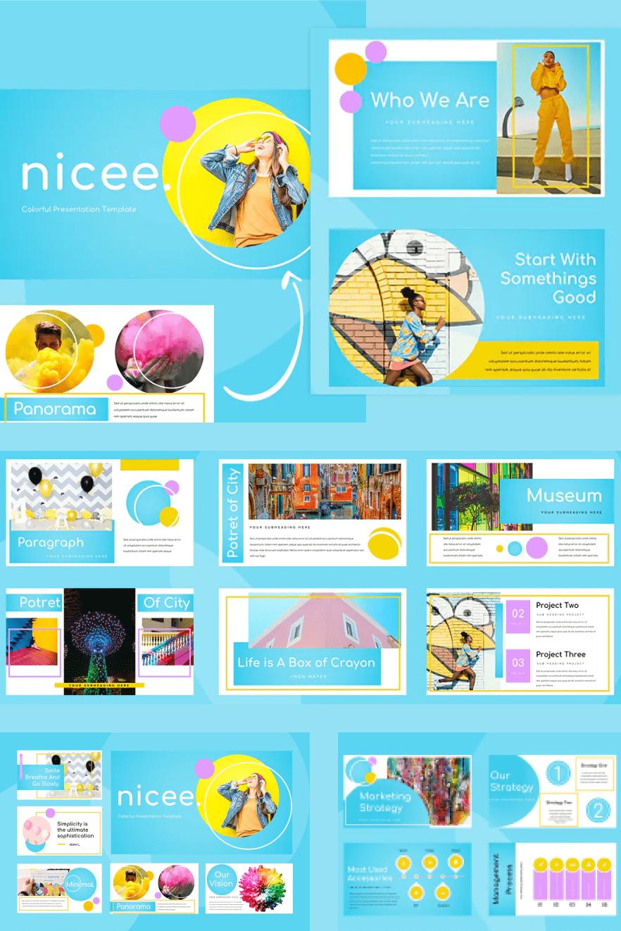 Nicee - Colorful Google Slides Presentation. Collage Image.