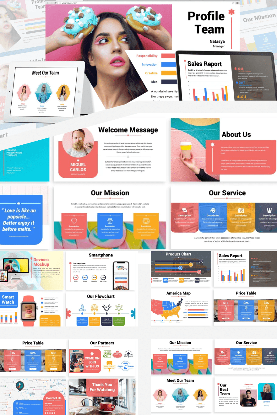 Popsicle - Colorful Google Slides Template. Collage Image.