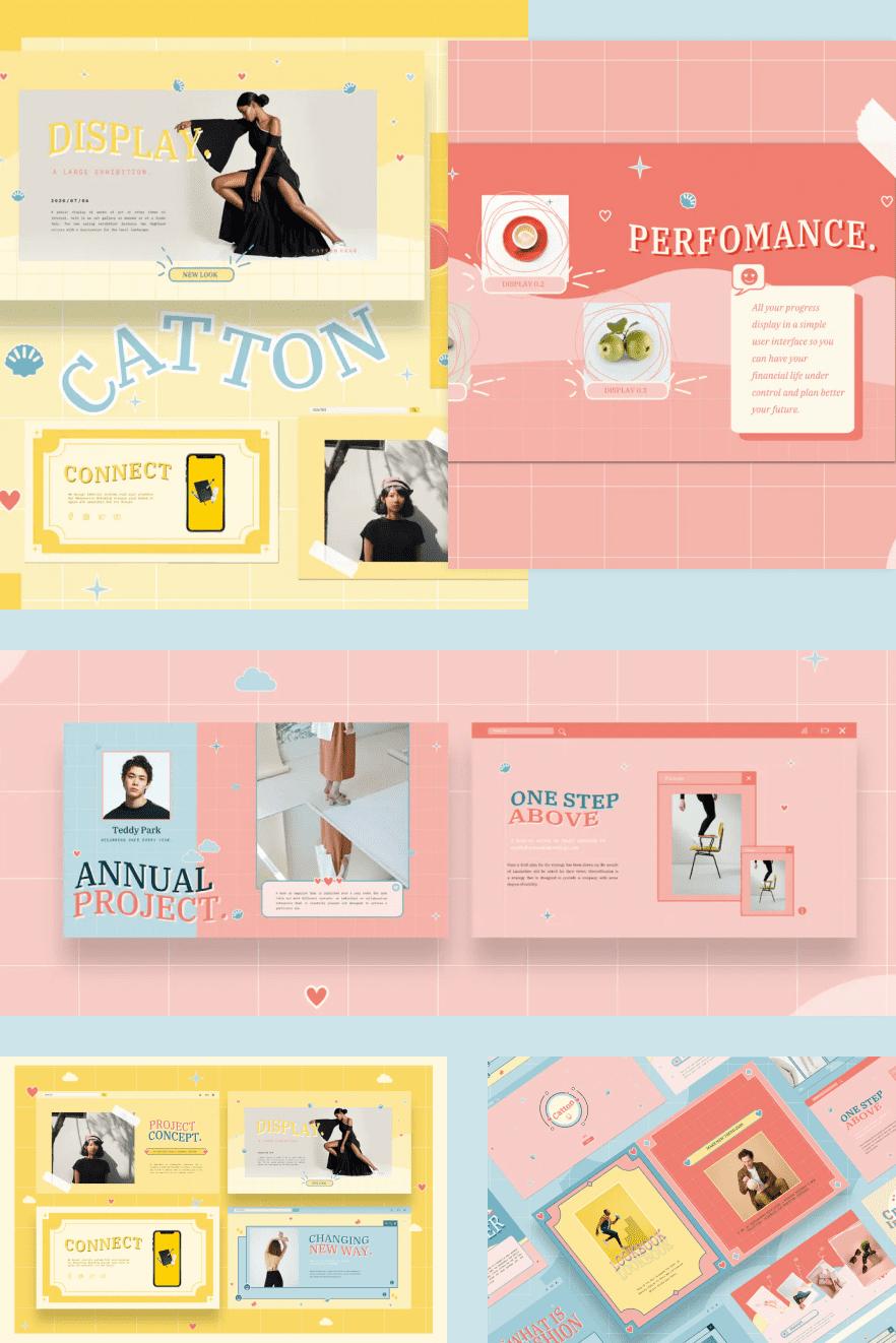 Catton Cute Pastel Google Slides. Collage Image.
