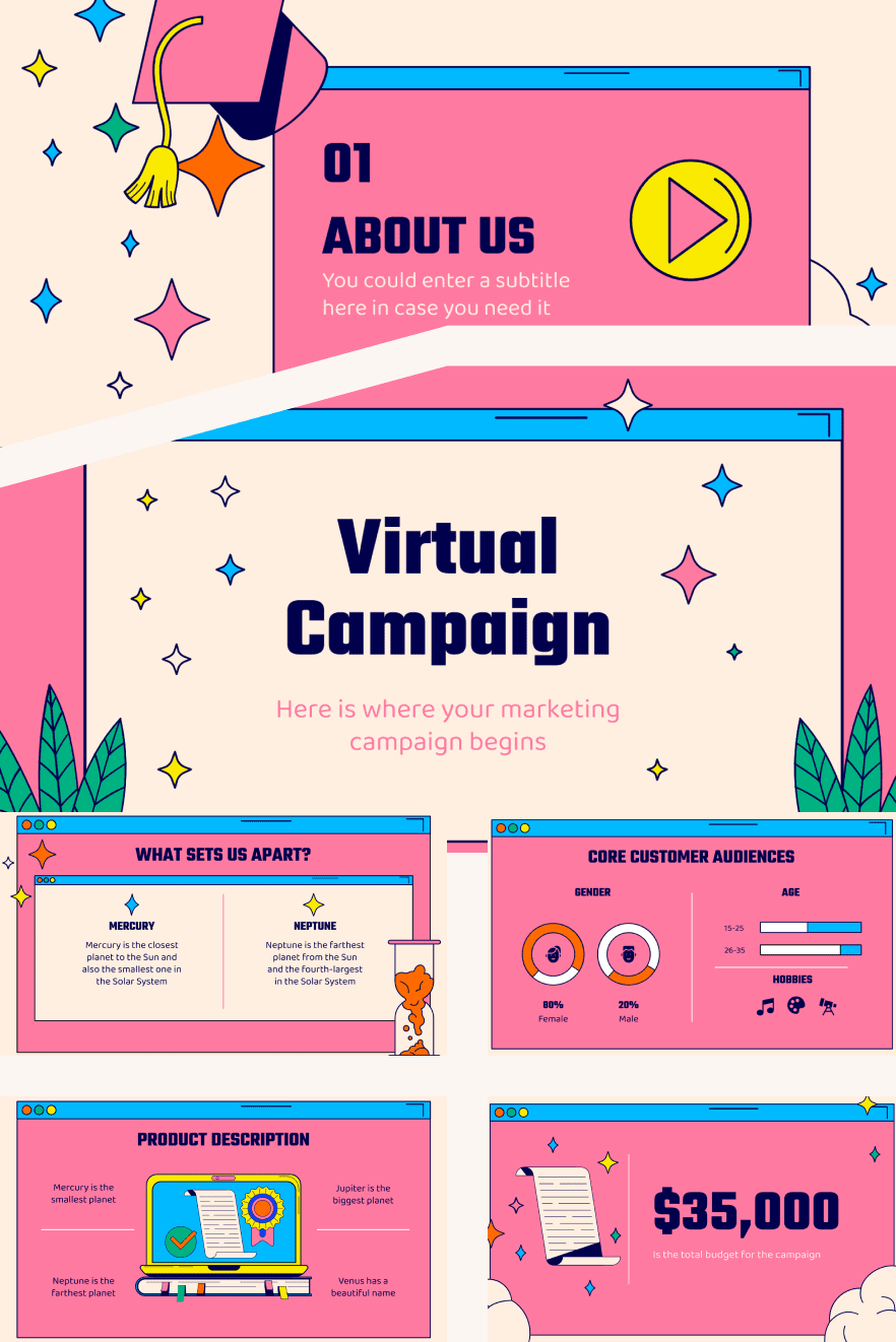 Virtual Campaign Template. Collage Image.