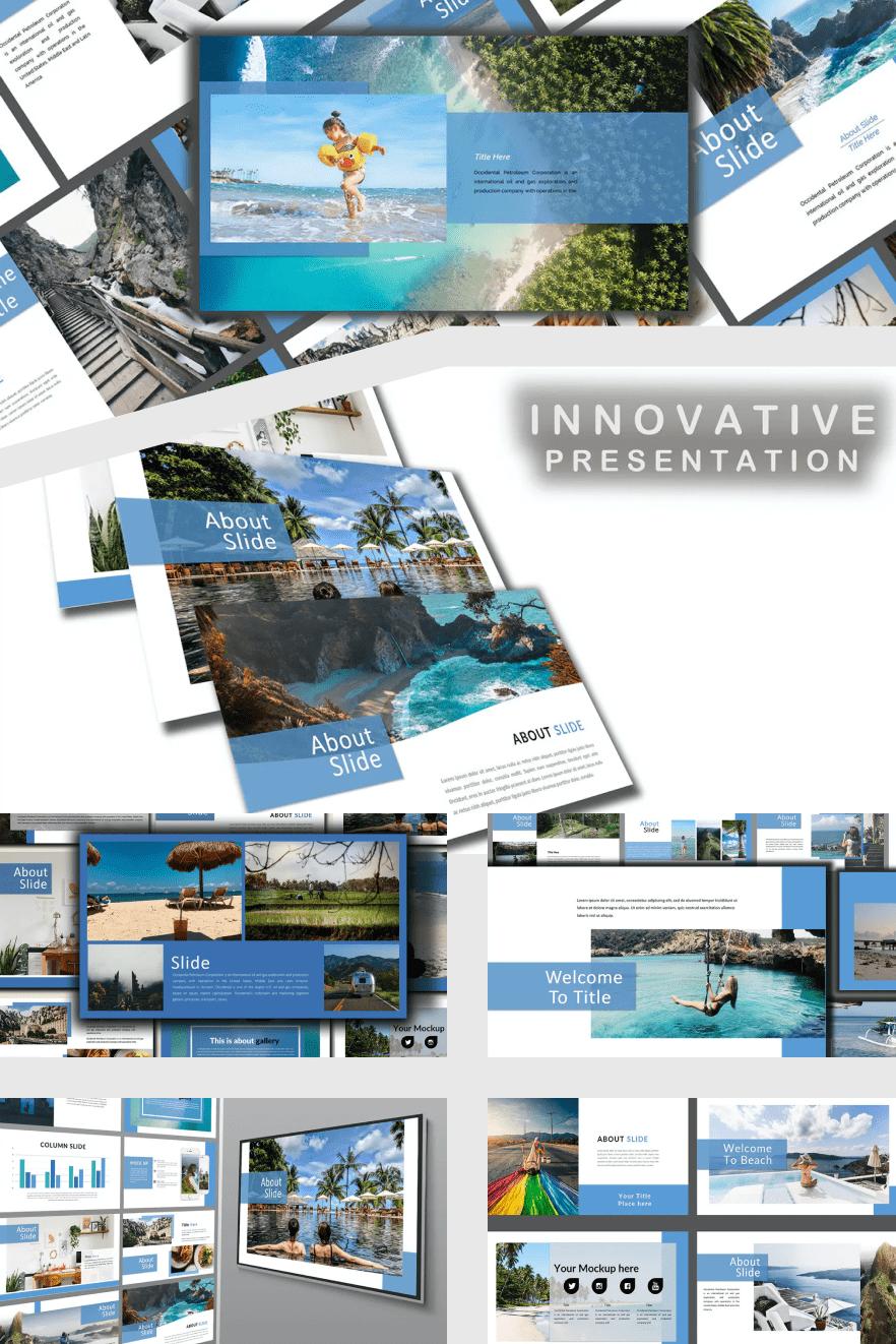 Holiday Google Slide Themes. Collage Image.