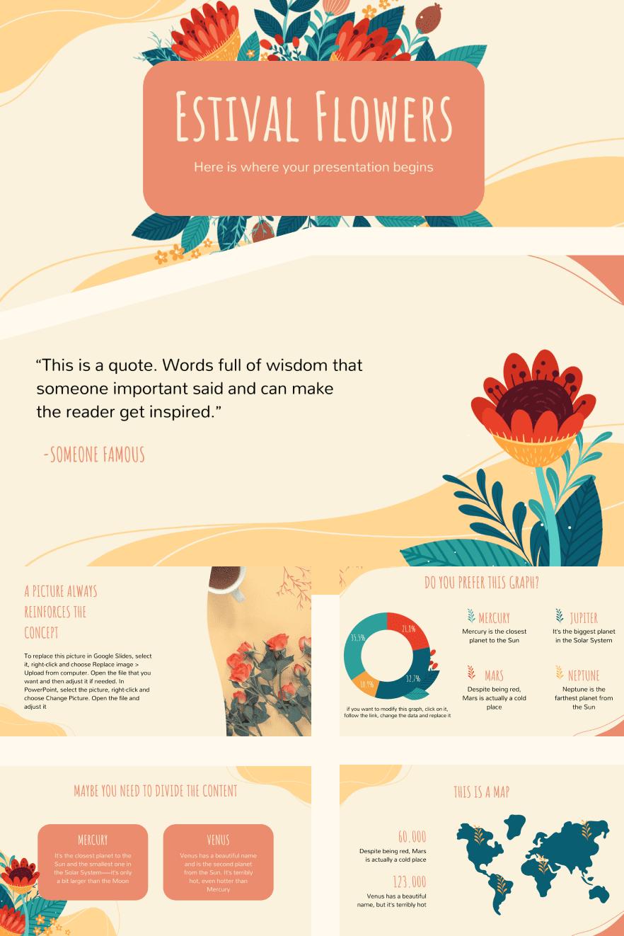 Estival Flowers. Collage Image.