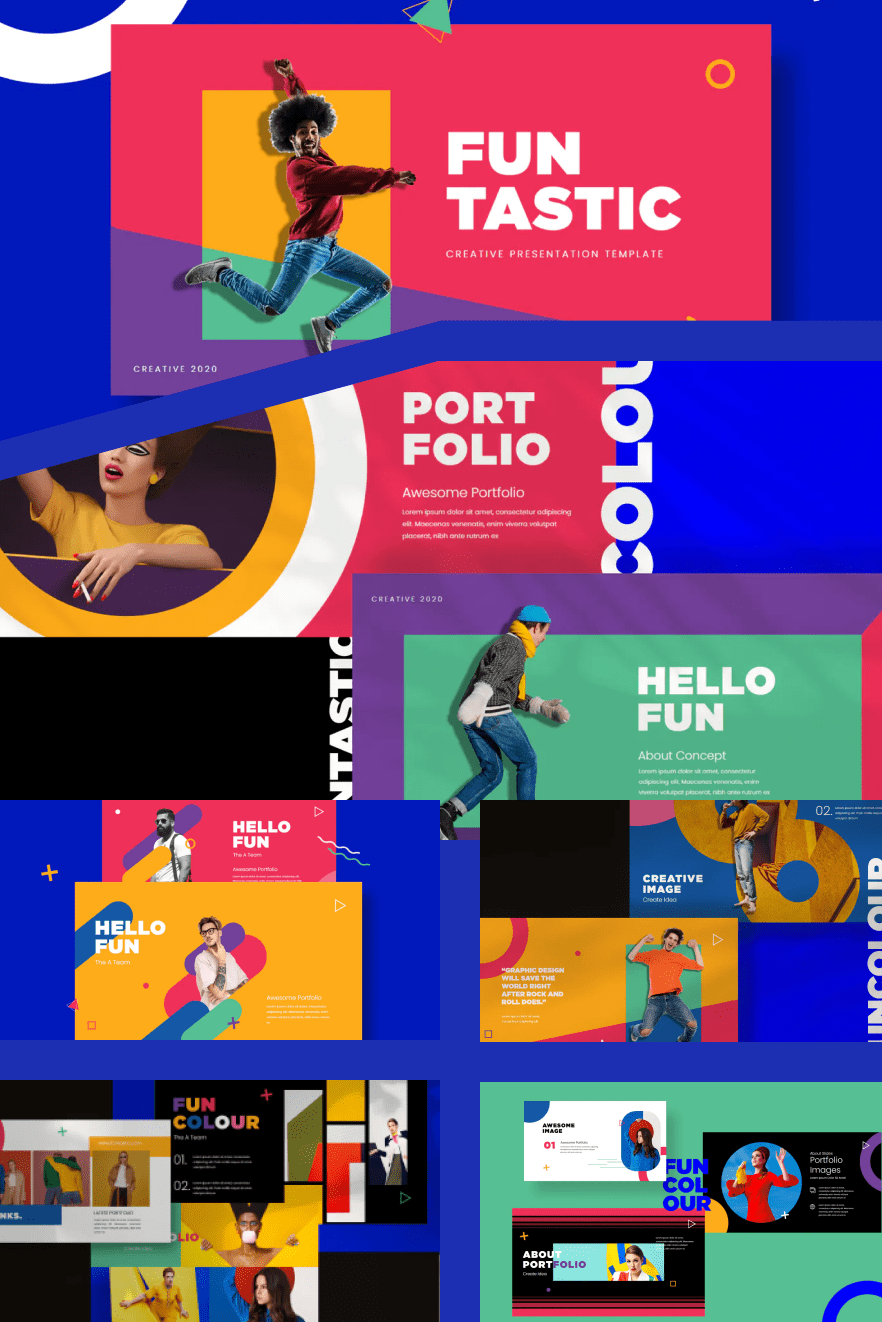 Fun Tastic Business Google Slides Template. Collage Image.