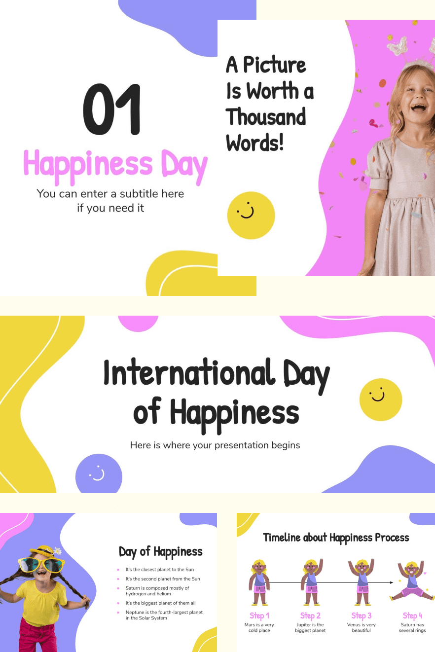 International Day of Happiness. Collage Image.