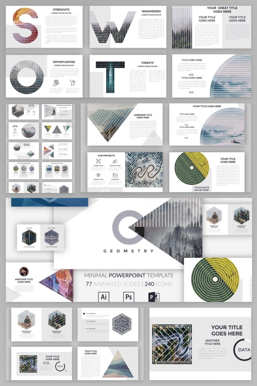 Minimal Geometry PPT. Collage Image.