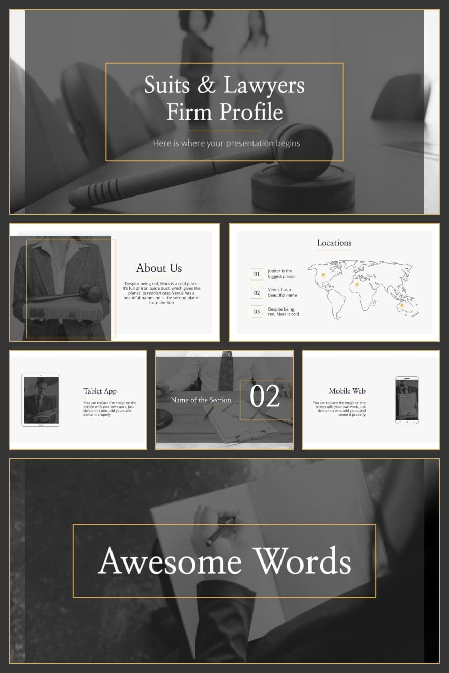 Suits & Lawyers Firm Profile. Collage Image.