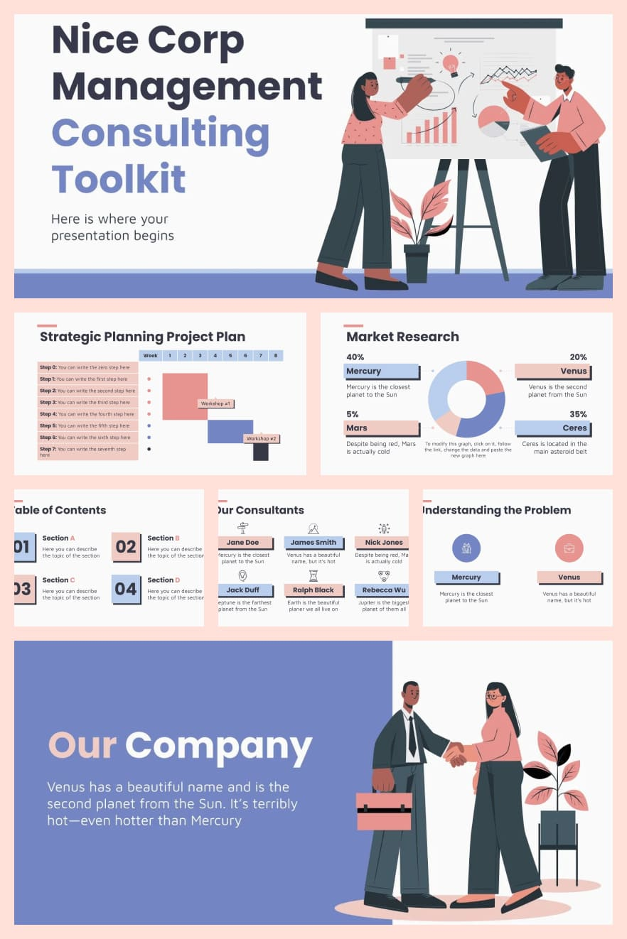 Nice Corp Management Consulting Toolkit. Collage Image.